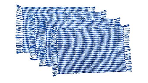 (HomweLinen Table Placemats, 100% Cotton Woven Fringed, Glen Checker Pattern, Placemat Set of 4-13x19 Inch, Blue/White )