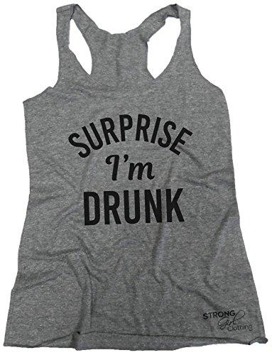 Strong Girl Clothing Women's Surprise Im Drunk Tank Top (Medium, Heather Grey)