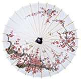 Luna Bazaar Cherry Blossom Parasol, 33-Inch - Chinese/Japanese Paper Umbrella - For Weddings and Personal Sun Protection by Cultural Intrigue