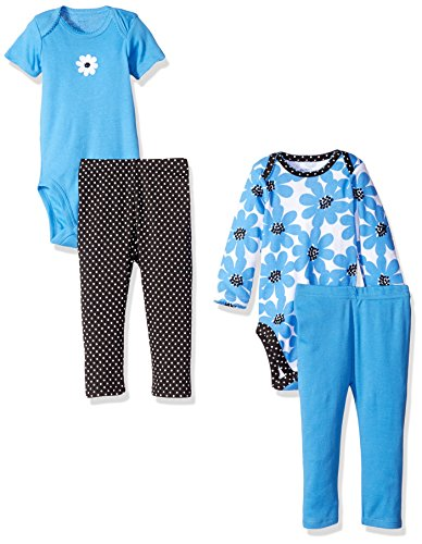 Gerber Baby Girls' 4-Piece Bodysuit and Pant Set, Daisies, Newborn