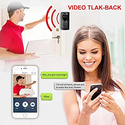 Video Doorbell Camera Wireless WiFi,Waterproof Smart Door Bells Security Camera, Night Vision, PIR Motion Detection Real-Time Two-Way Talk, Free App Control Support iOS and Android