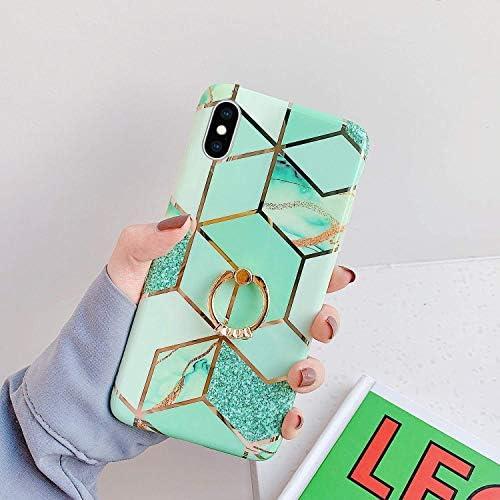 Saceebe kompatibel mit iPhone XR Hülle TPU Silikon,Kristall TPU Silikon Marmorierung weiche Schale Weich Handyhülle Silikon Schutzhülle mit Ring Halter Ultra dünn Schutz kratzfest,Grün