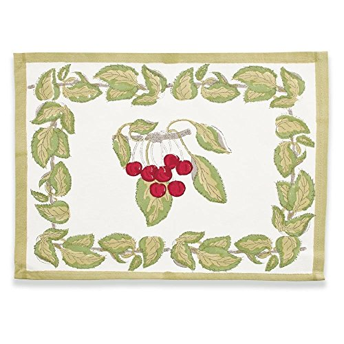 Couleur Nature Cherry Red/Green Mats 15-inches by 18-inches, Set of 6
