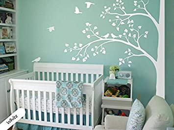 White Tree Wall Decal   Nursery Decor   Large Tree Mural   Huge Corner Tree  With