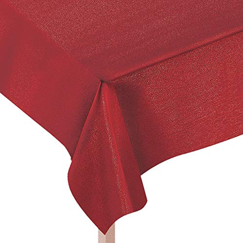 Amscan Metallic Red Fabric Tablecloth, Christmas Party Supplies, 60
