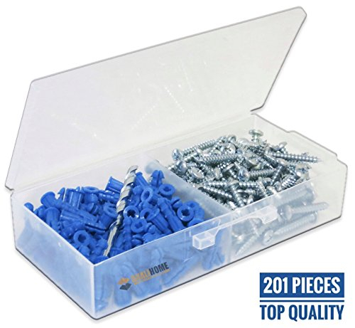 Ribbed Plastic Drywall Anchor Kit with Screws and Masonry Drill Bit, 10-12 x 1