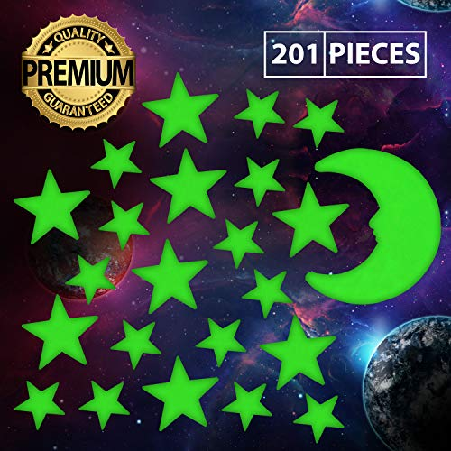 Ultra Glow in The Dark Stars Luminous Premium Quality Different Sizes Fluorescent Stars with Bonus Large Moon 201 Pcs Stickers Ceiling Decor Perfect Gift for Kids Bedroom Birthday Party -
