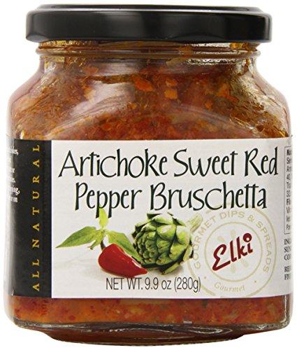 Artichoke Bruschetta - Elki's Gourmet Artichoke and Red Pepper Bruschetta, 9.9 Ounce