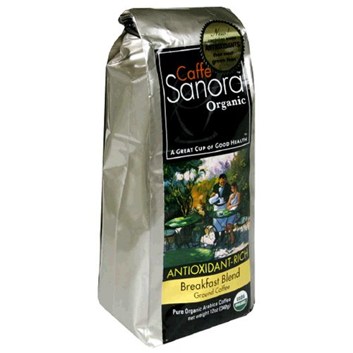 Caffe Sanora Organic Antioxidant-Rich, Breakfast Blend Ground Coffee, 12-Ounce Bags (Pack of 2) Review