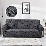 Liveinu Waterproof Jacquard Spandex Stretch Elastic Sofa Slipcover Geometric Pattern Black Chair (35''-47'')