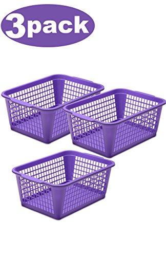 YBM HOME Plastic Perforated Storage Basket Bin Office Drawer, Shelf Desktop Countertop Tray Organizer 32-1184 (3, Purple) ()