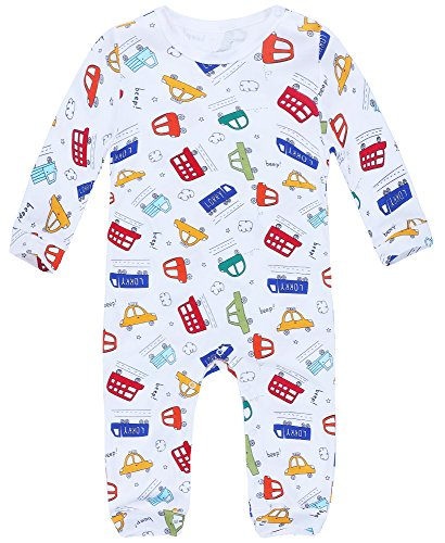 Jingle Bongala Baby Romper Long Sleeve Cotton Jumpsuit Cartoon Onesie with Shoulder Snap