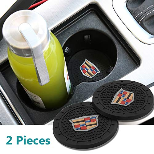 Yuanxi Electronics 2 Pcs 2.75 inch Car Interior Accessories Anti Slip Cup Mat for Cadillac Escalade, CTS,SRX, BLS, ATS,STS, XTS, SXT,etc All Models