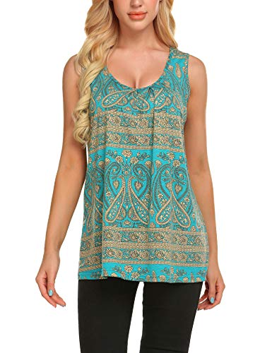 Zeagoo Women's Floral Print Loose Casual Flowy Tunic Tank Top PAT Blue S