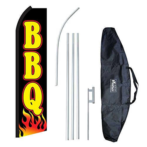"""BBQ Flames"" 12-foot Swooper Feather Flag and Case Complete Set...includes 12-foot Flag, 15-foot Pole, Ground Spike, and Carrying/Storage Case"