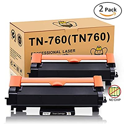 TN760 TN730 Toner Without CHIP (2-Pack) for Brother TN-760 TN-730 Black High Yield Toner Cartridge Compatible for Printer Brother MFC-L2730DW DCP-L2550DW MFC-L2750DW