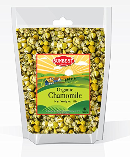 Sunbest Organic Chamomile Flowers, Egyptian, Whole / Loose, Caffeine Free, Herbal Tea 16 Oz