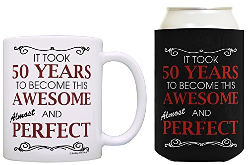 50th Birthday Ideas It Took 50 Years to Become This Awesome and Almost Perfect 50th Birthday Party Ideas 50th Birthday Decorations Coffee Mug & Can Coolie Bundle Black