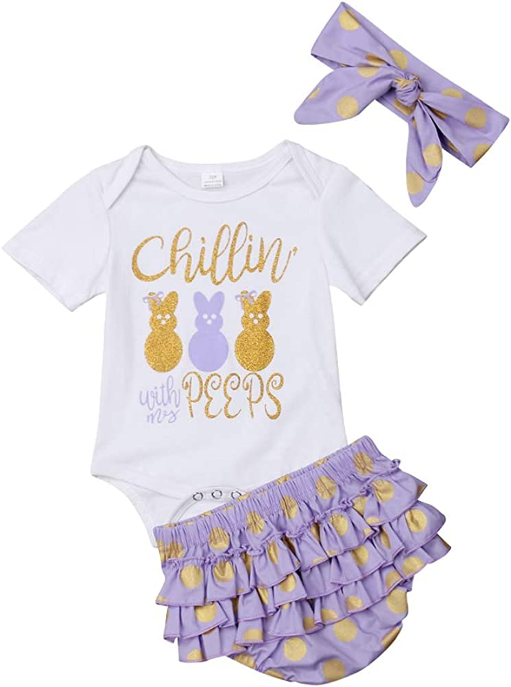 Infant Baby Girl Bunny Romper Babygow Bodysuit Ruffle Tutu Bottoms Easter Outfit Set With Handband 12-18M