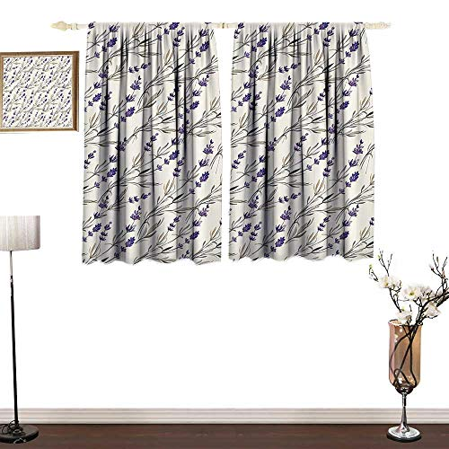Jinguizi Purple Decor CollectionPolyester curtainLavender Paint Style Pattern French Fragrance Organic Herb Theme Country Cottage PrintDecor Curtains by W55 xL45 Violet Beige