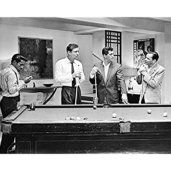 Amazoncom Frank Sinatra Rat Pack By Pool Table Bw 16x20 Canvas