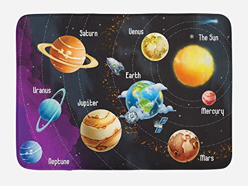 Ambesonne Outer Space Bath Mat, Solar System of Planets Milky Way Neptune Venus Mercury Sphere Illustration, Plush Bathroom Decor Mat with Non Slip Backing, 29.5