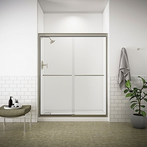 KOHLER K-702207-L-NX Fluence 3/8-Inch Thick Glass Bypass Shower Door, Brushed Nickel