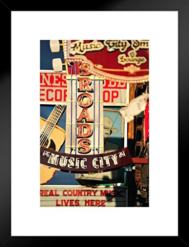 Music City Nashville Country Music Retro Signs Photo Art Print Matted Framed Wall Art 20x26 inch ()