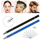 Coobal Hair Razor Pen, Hair Tattoo Trim Styling Face Eyebrow Shaping Device, 2 PCS Hair and Eyebrows Styling Engraving Pen + 10 Blades + Tweezers(Black & Blue)