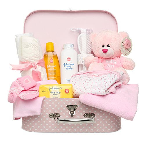 (Newborn Baby Gift Set - Keepsake Box in Pink with Baby Clothes, Teddy Bear and Gifts for a New Baby)