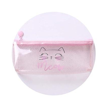 Amazon.com: 1 Pcs Kawaii Pencil Case Dot Cat Plastic Gift ...