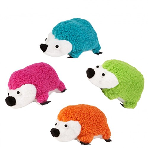 Boss Pet PLP-207 Assorted Pugslie's Small Fleece Plush Hedgehog with Squeaker Dog Toy