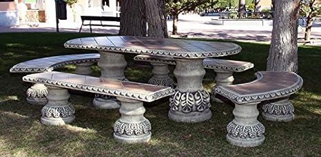 DEGARDEN Conjunto de Mesa 190cm. Marta Alargada y Bancos para jardín o Exterior de hormigón-Piedra y Azulejos