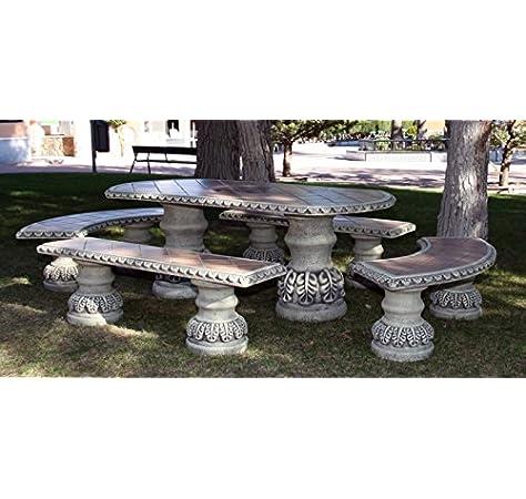 DEGARDEN Conjunto de Mesa Zircón Alargada y Bancos para jardín o Exterior de hormigón-Piedra y Azulejos: Amazon.es: Jardín