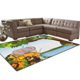 Kids,Rug,Various Cartoon Style Animals Together by River Bank Tree Bird Cute Funny Wildlife,Oriental