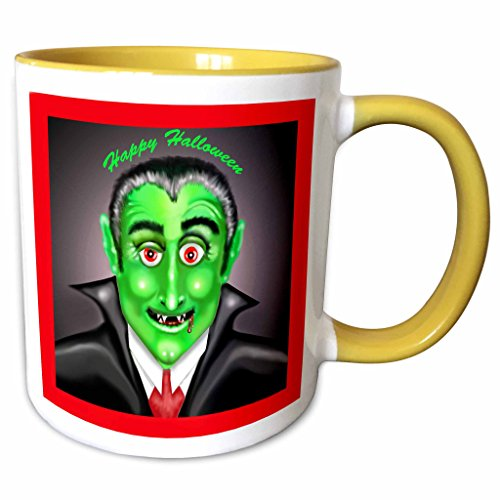 3dRose Dawn Gagnon Photography Halloween Designs - Count Dracula Happy Halloween Greeting - 15oz Two-Tone Yellow Mug (mug_165617_13) -