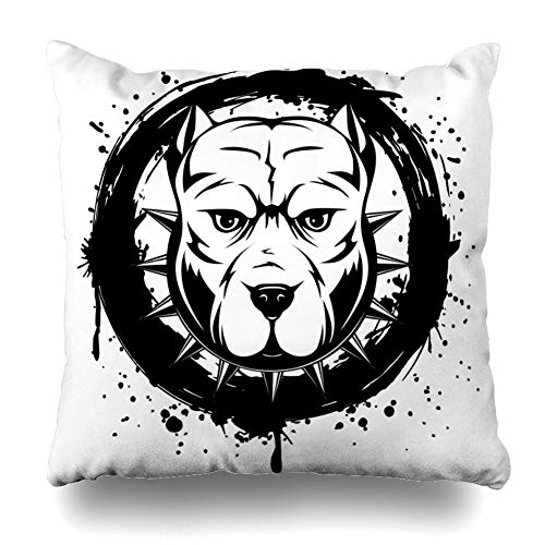 - Pandarllin Throw Pillow Cover Mad Aggression Abstract Black White Pitbull Crazy Aggressive Angry Attention Breed Bull Dog Cushion Case Home Decor Design Square Size 16 x 16 Inches Pillowcase