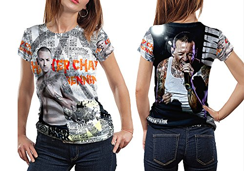 LINKIN PARK CHESTER BENNINGTON Rest In Peace Memorial fans Print Sublimation Woman Top Size : S to 3XL