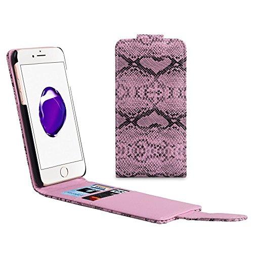 Snake Texture Card Slots Vertical Flip Leather Phone Tasche Hüllen Schutzhülle Case für iPhone 7 4.7 - Pink