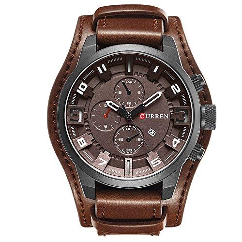 CURREN 8225 Men Military Quartz Watch Top Brand Luxury Leather Strap Analog Sports Wristwatch Calendar