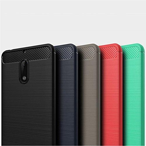 Funda Nokia 6,Funda Fibra de carbono Alta Calidad Anti-Rasguño y Resistente Huellas Dactilares Totalmente Protectora Caso de Cuero Cover Case Adecuado para el Nokia 6 B