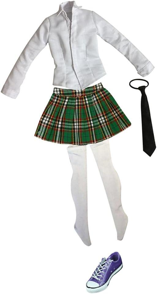 Amazon.es: non-brand Femenina Uniforme de Colegiala (Camisa de Manga Larga, Tela Escocesa Minifalda, Corbata, Medias y Zapatos de Lona) - Verde + púrpura: Juguetes y juegos