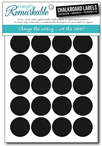 "Simply Remarkable Dishwasher Safe Reusable Chalk Labels - 40 Circle Shape 1.25"" Chalk Stickers Wipe Clean and Reuse Organizing, Decorating, Crafts, Personalized Hostess Gifts, Wedding and Party Favors"