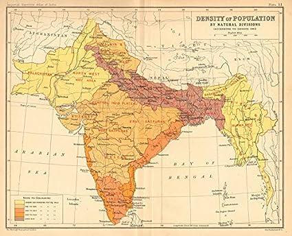Map Of S Asia.Amazon Com British India S Asia Population Density 1901 Census