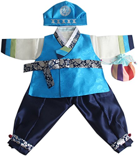 Korean Traditional Costume For Boys (Korean hanbok boys babys traditional costumes birthday party 1-14 AGES hb058 (1 age))