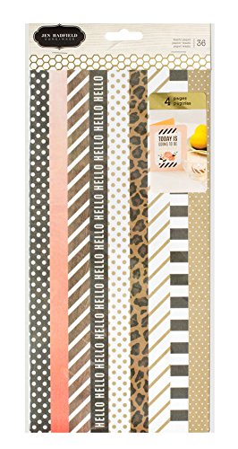 American Crafts 4 Sheets Jen Hadfield DIY Home Foil Washi Tape, Gold