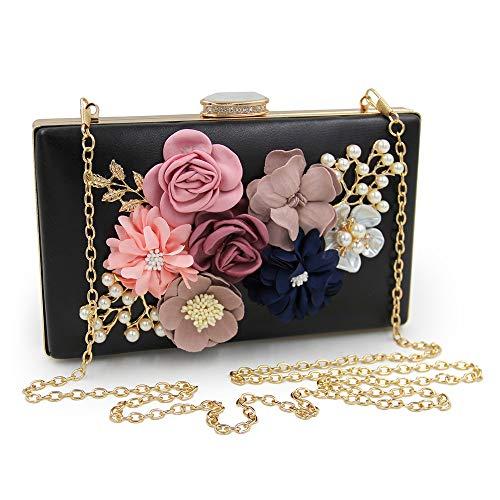 Perle Pochette Perlé couleur Style Fleur Chaîne Rose Petit Soirée Noir Banquet Carré Enveloppe Dîner Embrayage Main À De Sac Zhongsufei AgSwBB
