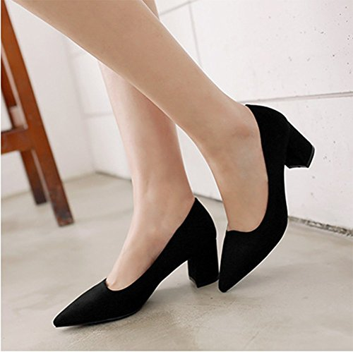 CHFSO Womens Office Pointed Toe Fleece Mid Chunky heel Dorsay Pumps Shoes Black wStnrRiM6