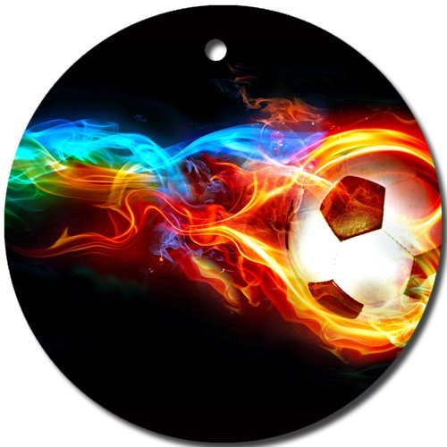 Porcelain Ball Finial - Soccer Ornament round porcelain Christmas Great Gift Idea