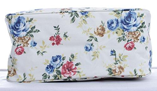 Floral toilette de sac toile voyage à Trousse Motif cirée rayures Rose main Motif à Rainbow en PdT54x